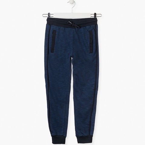 Blue unnapped plush trousers