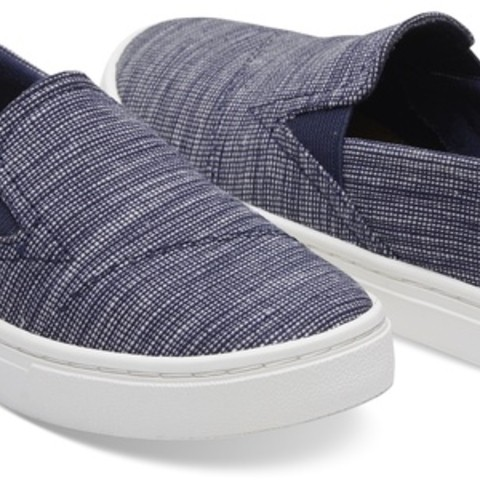 Navy Striped Chambray Youth Luca Slip-Ons