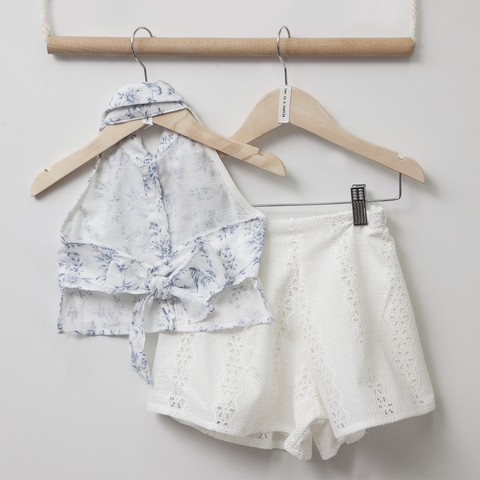 TC CHINA BLUE SET W/PRINTED TOP,LACE SHORTS & ACC KID | JNR